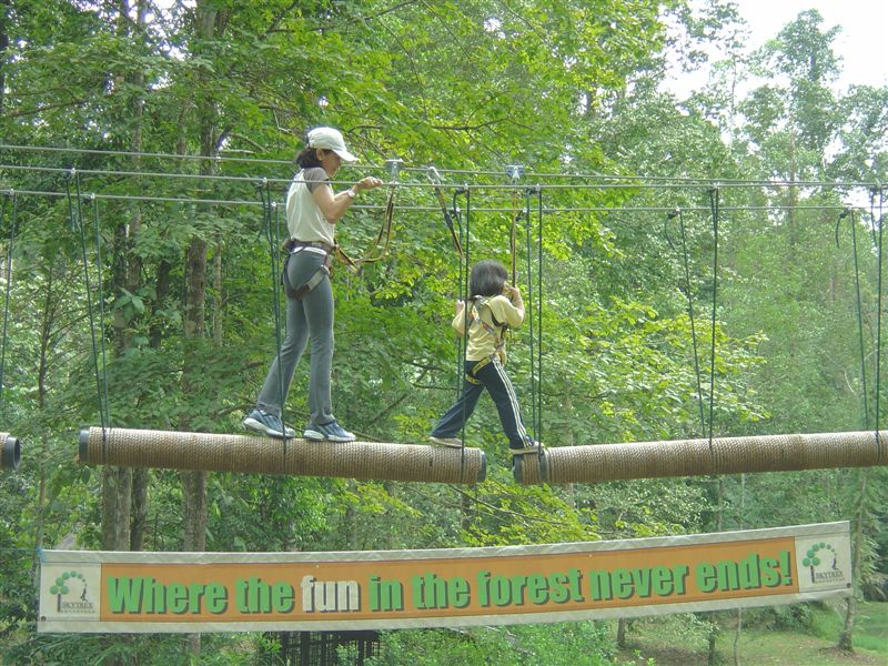 Skytrex High Ropes Bukit Cahaya Agricultural Park: Flying Fox over the 'Moat'!!