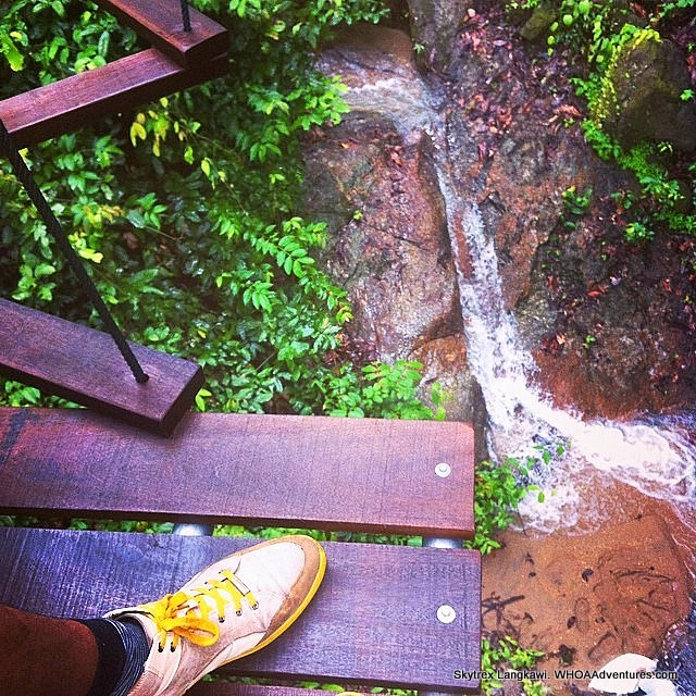 Walk above a waterfall