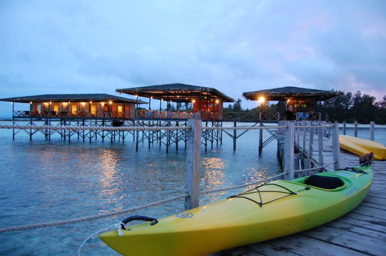 Mari Mari Dive Center on stilts at Mantanani Kecil Island